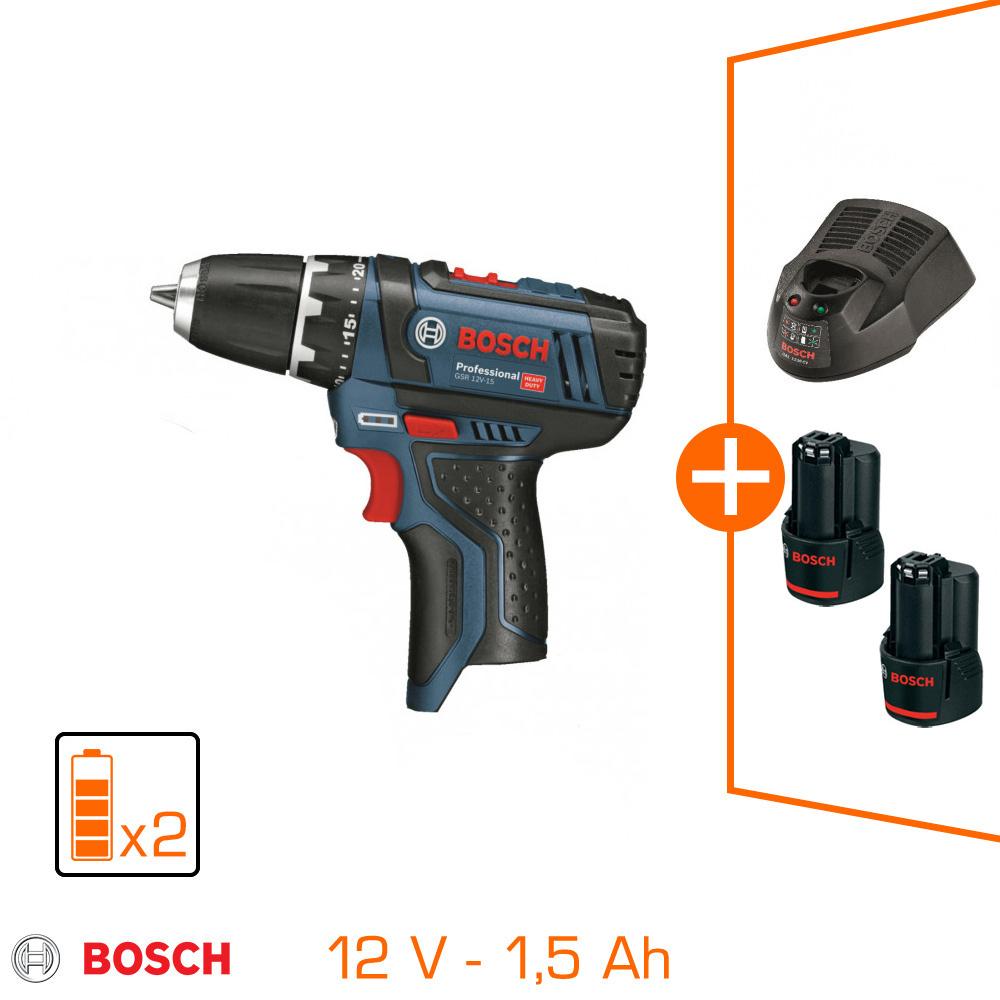 Perceuse-visseuse sans fil Bosch Professional GSR12V-15 -12V, 2 batteries 1.5Ah, chargeur