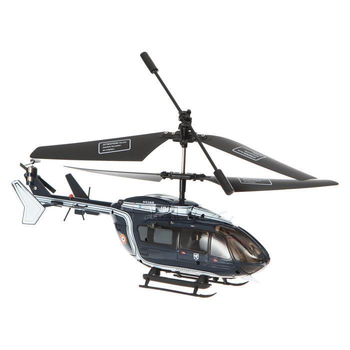 Hélicoptère télécommande Gendarmerie EC145 infrarouge 3 voies 1/64eme