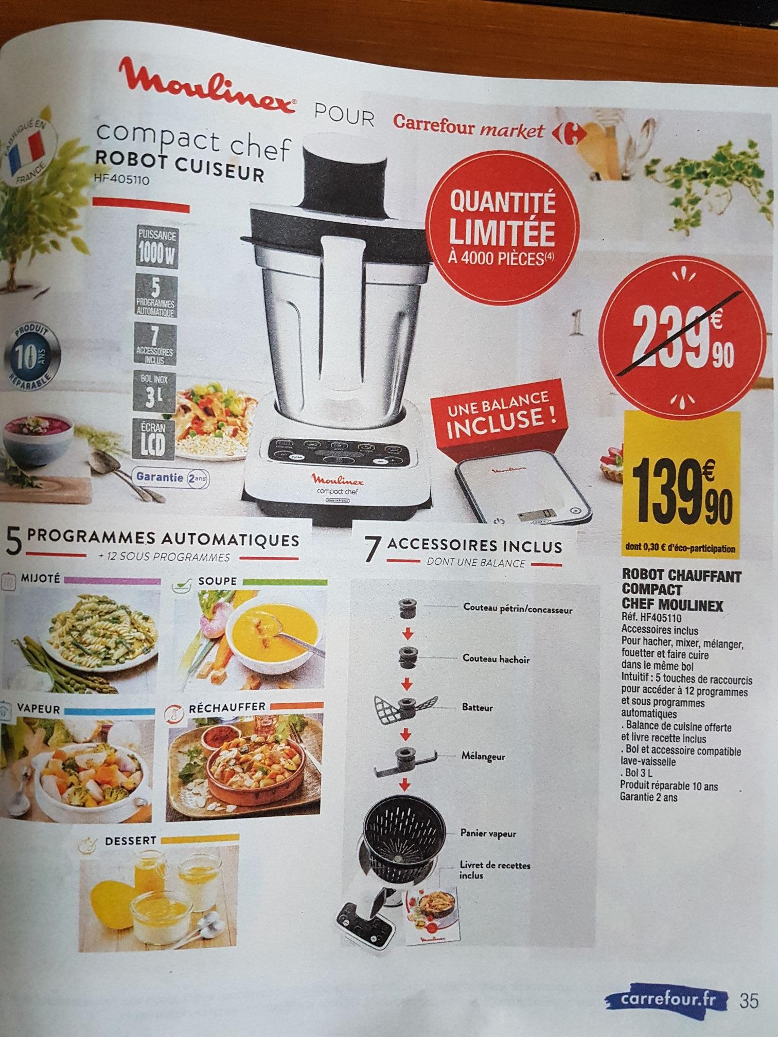 Robot chauffant compact Chef Moulinex HF405110 - 1000W, 3L