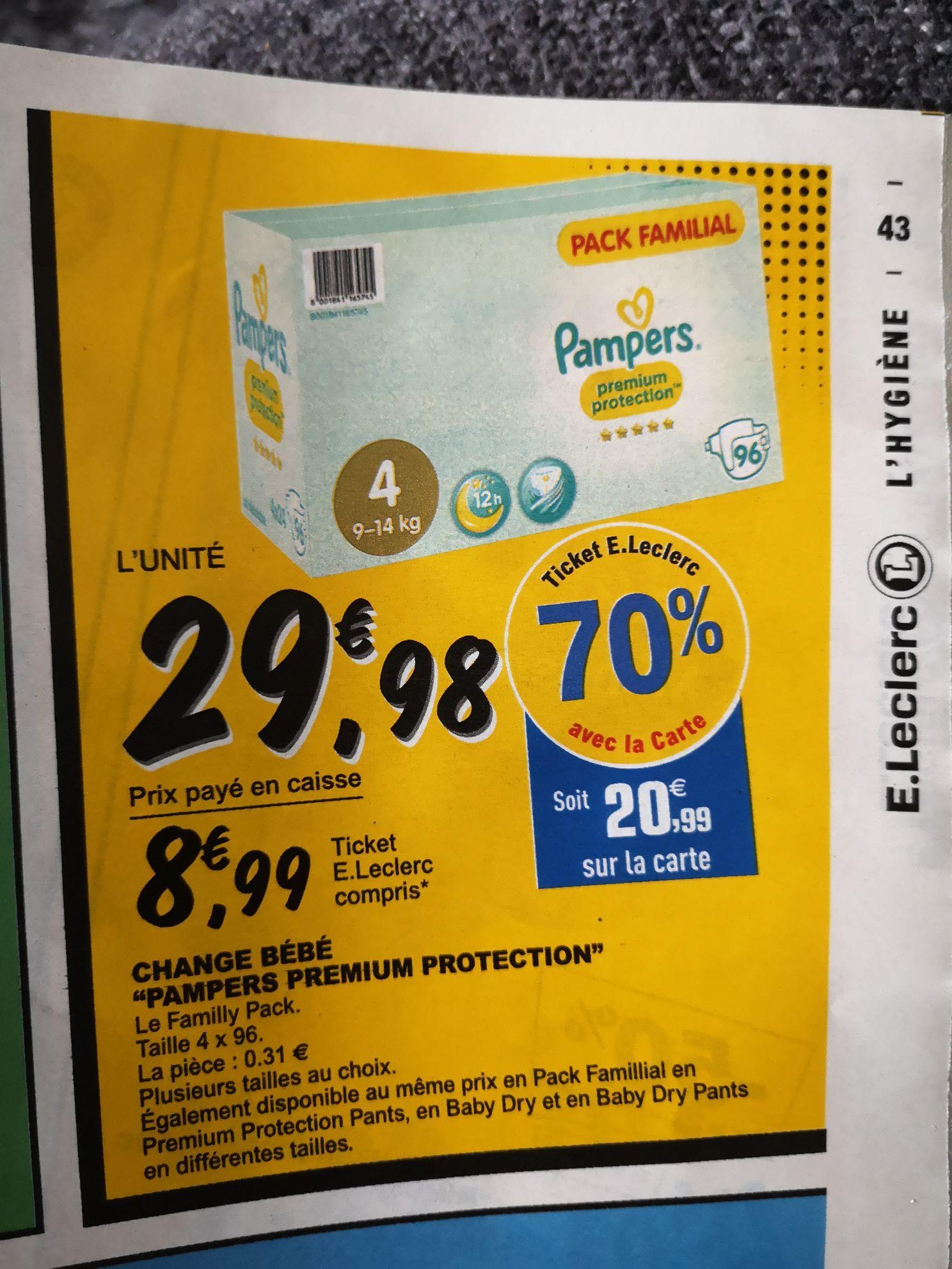 Couches Pampers Premium Protection (via 20,99€ sur la carte fidélité + BDR)