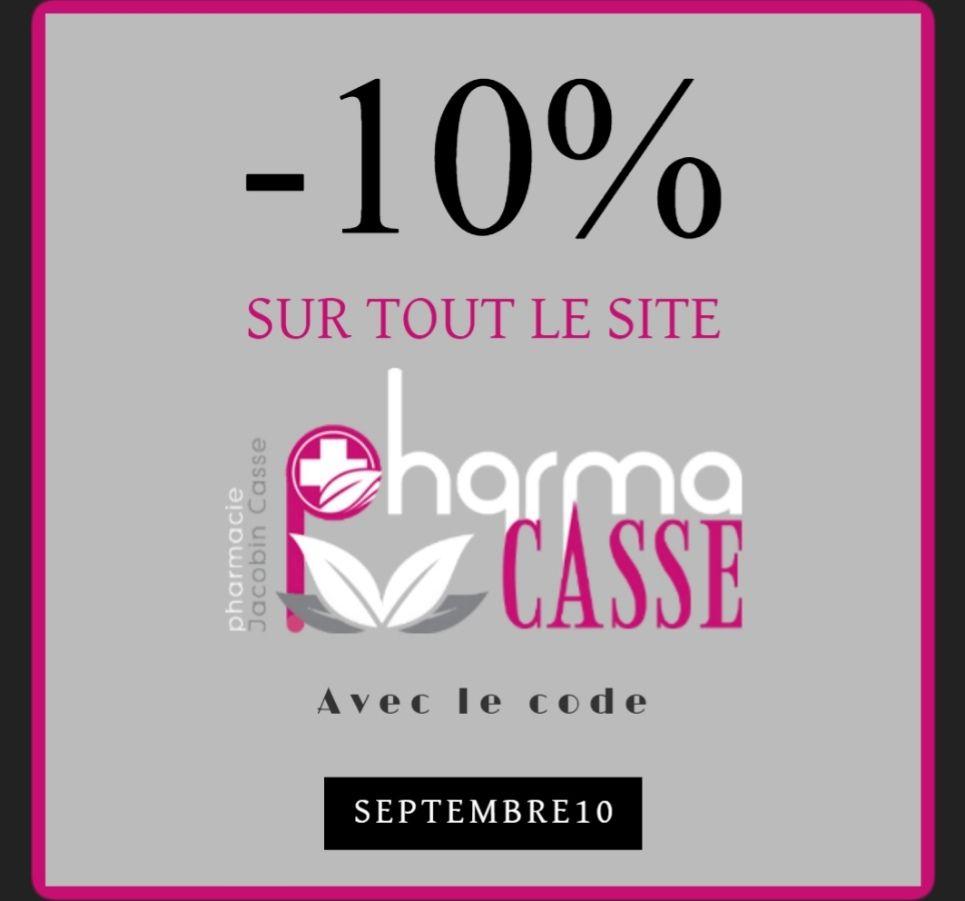 10% de réduction à partir de 39€ d'achat (pharmacasse.fr)