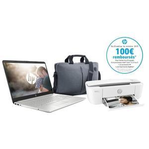 """PC Portable HP 15.6"""" 15-dw0055nf - Full HD, i5-8265U, 8 Go RAM, 256 Go SSD, win 10 + Imprimante HP Deskjet 3750 + Sacoche HP (via 100€ ODR)"""