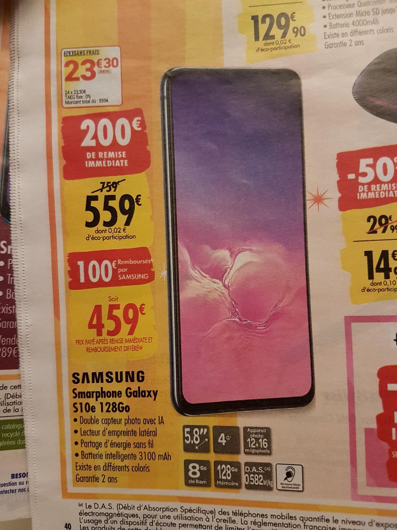 """Smartphone 5.8"""" Samsung Galaxy S10e - 128 Go (via ODR de 100€)"""
