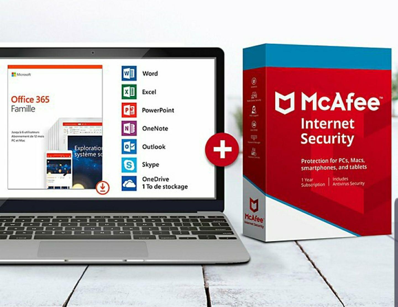 Pack Logiciels : Office 365 Famille + McAffee internet Security (Dématérialisé)