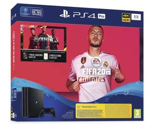 Pack console Sony PS4 Pro (1 To) + FIFA 20 + contenu additionnel FUT
