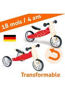 Mini draisienne ou tricycle Charlie en bois - 4 en 1