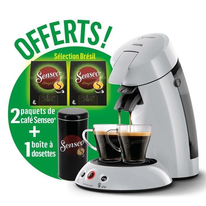 Machine à café Philips Senseo Original HD6554/53 - Gris Clair + 2 paquets de café Sélection Brésil offerts + Boite Métal