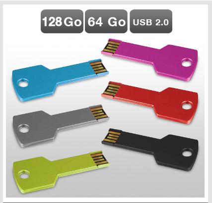 Clé USB 64 ou 128 Go métal, 1 achetée = 1 offerte
