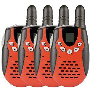 Lot de 4 Talkies walkies UHF400-470MHZ 2-Way Radio 3KM gamme interphone avec mini torche LED