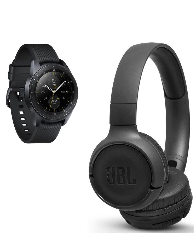 Montre connectée Samsung Galaxy Watch (42mm, Noir Carbone) + Casque audio sans fil JBL BT500 (+20€ bon d'achat)
