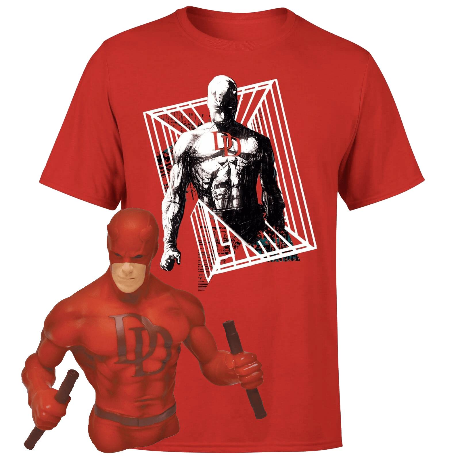 T-Shirt pour hommes et femmes (du XS au XXL) + Tirelire buste Daredevil de 20cm - Produits sous licence officielle Marvel