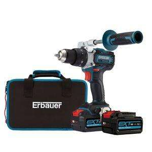Perceuse 18v sans fil à percussion  Erbauer ECDT18-li-2 - 2x5Ah - 120nm - brushless - mandrin métal