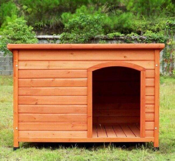 Niche chien en bois API à toit plat et rabattable - 85 x 58 × 58 cm
