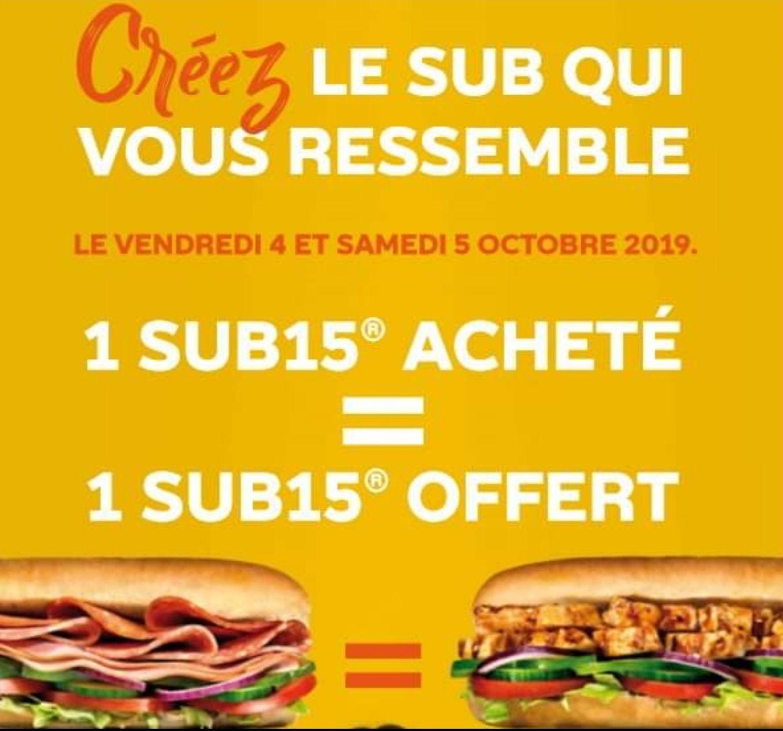 1 SUB15 acheté = 1 SUB15 offert - Subway Vern-sur-Seiche (35)