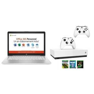 """PC Portable 14"""" HP 14-ds0001nf - HD, AMD A4, RAM 4 Go, eMMC 32 Go, Win 10S, Office 365 + Xbox One S All Digital + 2ème Manette + 3 jeux"""