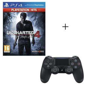 Pack Manette PS4 DualShock 4 Noire V2 + Jeu Uncharted 4: A Thief's End PlayStation Hits + Code Fortnite