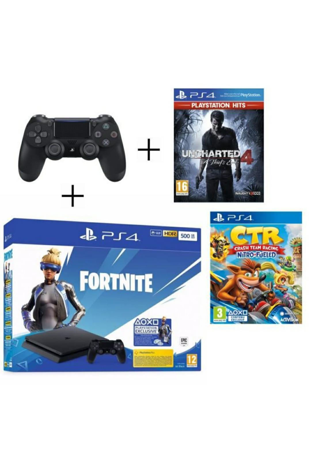 Pack Console PS4 500 Go (Noir) + Manette PS4 DualShock 4 Noire V2 + Voucher Fortnite + Uncharted 4 PSHits + Crash Team Racing Nitro Fueled
