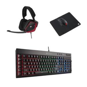 Pack accessoires Gaming Corsair  : Clavier membrane K55 RGB  + Casque micro VOID Pro Rouge + Souris Harpoon + Tapis de Souris MM100
