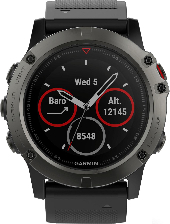 Montre connectée Garmin fenix 5X Sapphire - bracelet noir, gris