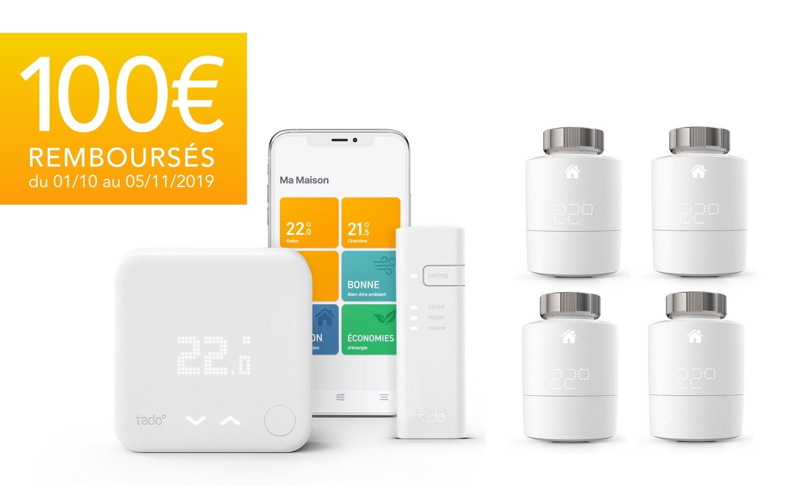 Thermostat intelligent Tado V3 + Kit de démarrage + 4 Têtes (Via ODR de 100€)