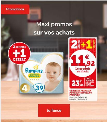 Lot de 3 paquets de couches Pampers Premium Protection - différentes quantités et tailles
