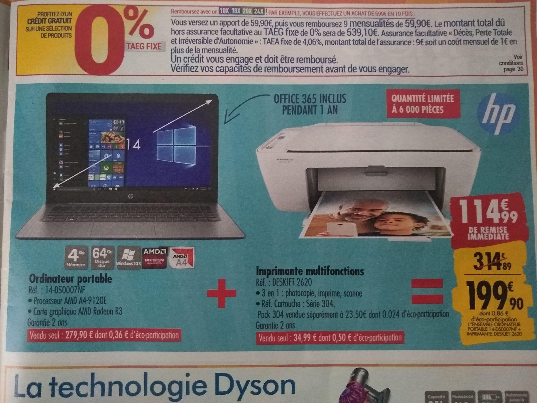 """Pack PC portable 14"""" HP 14-ds0007nf (A4-9120E, Radeon R3, 4 Go de RAM, 64 Go, Windows 10S) + imprimante à jet d'encre HP DeskJet 2620"""
