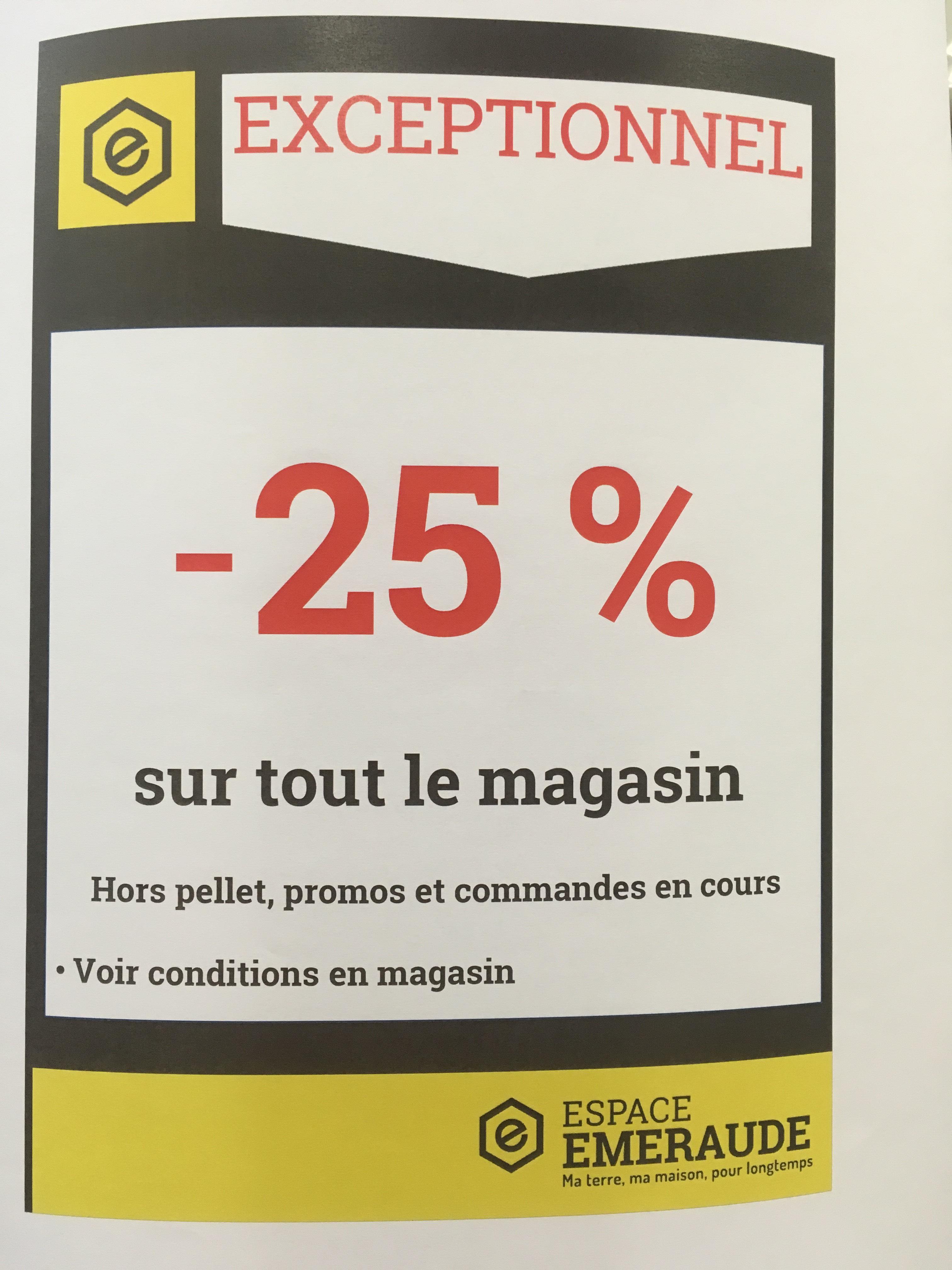 25% de réduction sur tout le magasin - Espace Emeraude Evron (53)