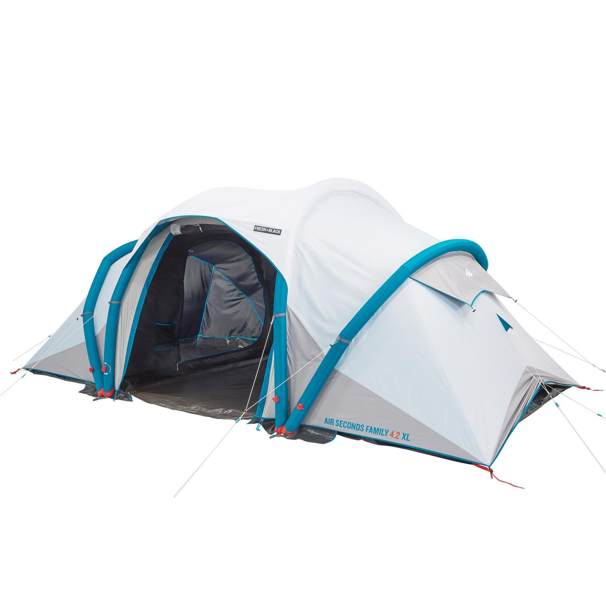 Tentes de camping gonflable à air Quechua Seconds Fresh & Black - 2 à 4 personnes
