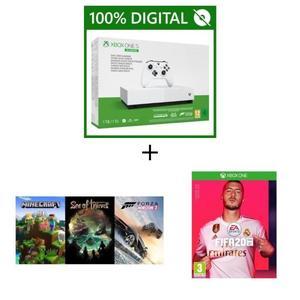 Console Xbox One S All Digital 1 To + 5 Jeux : FIFA 20 + Minecraft + Sea of Thieves + Forza 3 (Jeux dématérialisés) + APEX (code de jeu)