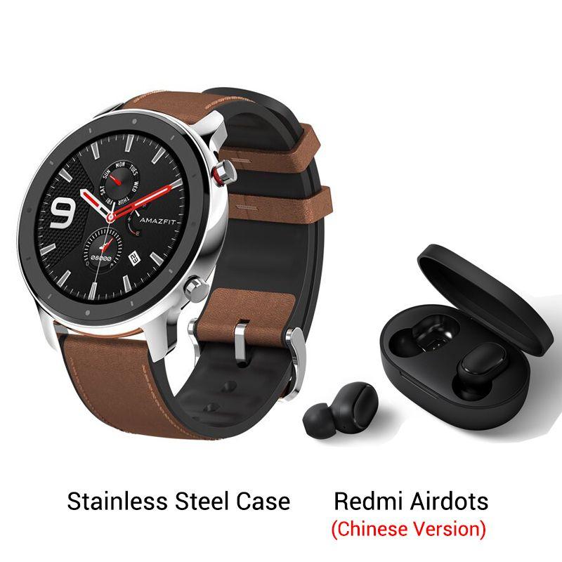 Pack montre connectée Xiaomi Amazfit GTR - 47 mm (argent ou noir) + écouteurs intra-auriculaires Xiaomi Airdots (entrepôt Espagne)