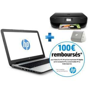 PC Portable 15,6''  HP 15-AC133NF (Intel Core i5-4210U, HDD 1 To, RAM 6 Go) + Imprimante Envy 4522 + Enceinte (ODR de 100€)