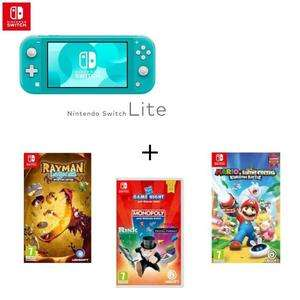 Pack Nintendo Switch Lite - Turquoise + Mario & The Lapins Crétins : Kingdom Battle + Rayman Legends Definitive Edition + Hasbro Game Night