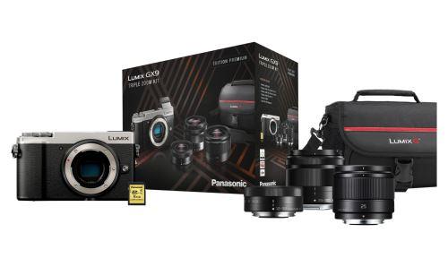 Pack Appareil photo Hybride Lumix DC-GX9 + 3 Objectifs G Vario 12-32mm / G Vario 35-100mm / G 25mm + Carte microSD 16 Go + Sacoche