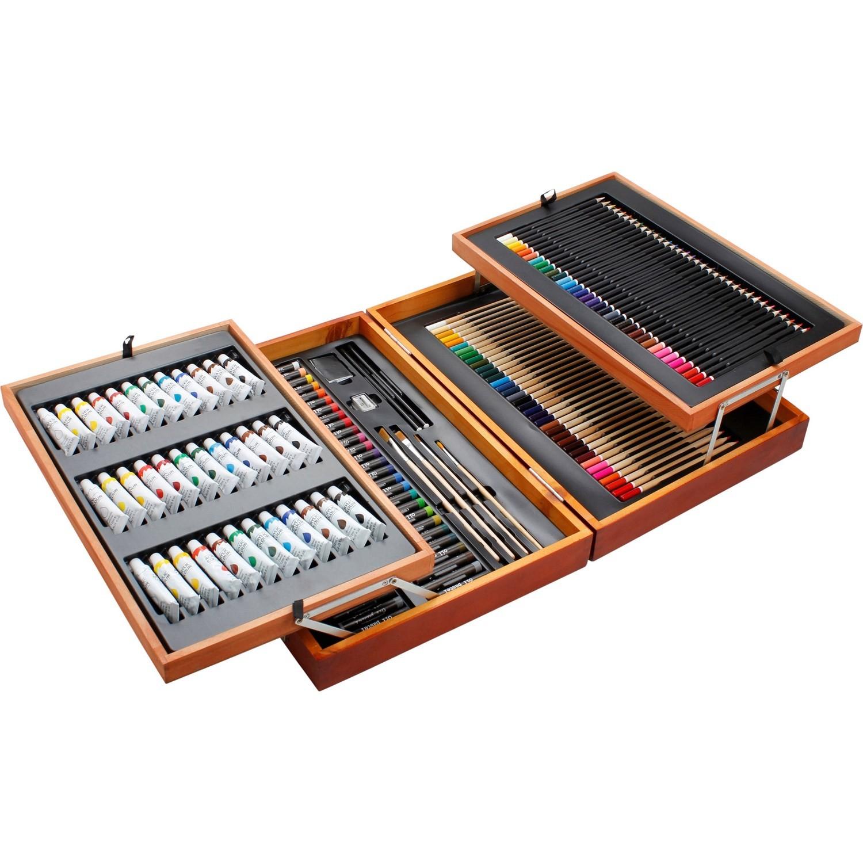 Mallette de crayons, pinceaux et tubes de peinture Beaux Arts - 168 pièces