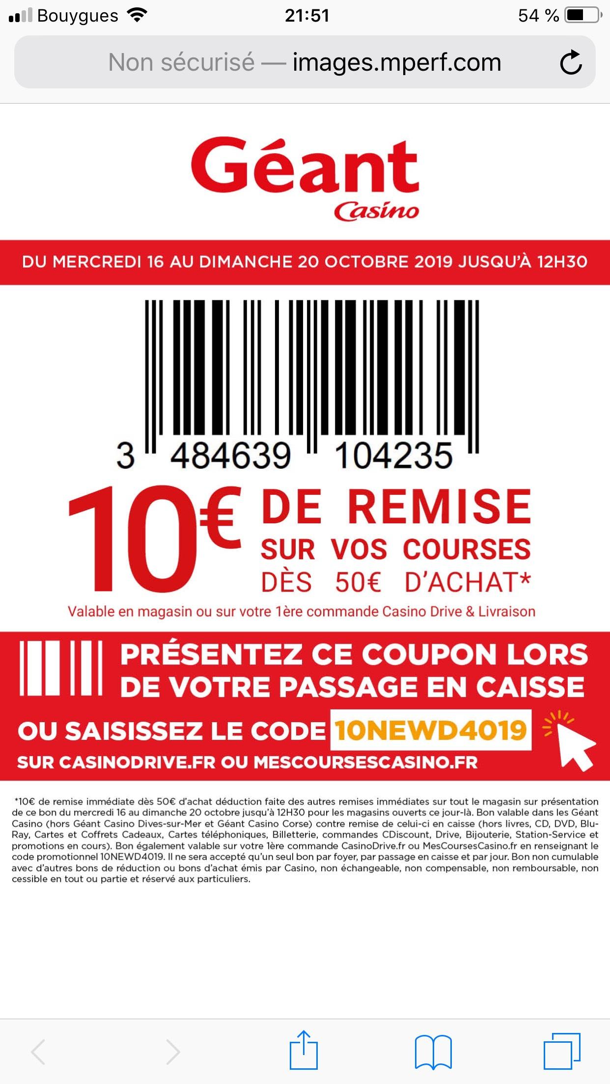 10€ de réduction dès 50€ d'achats