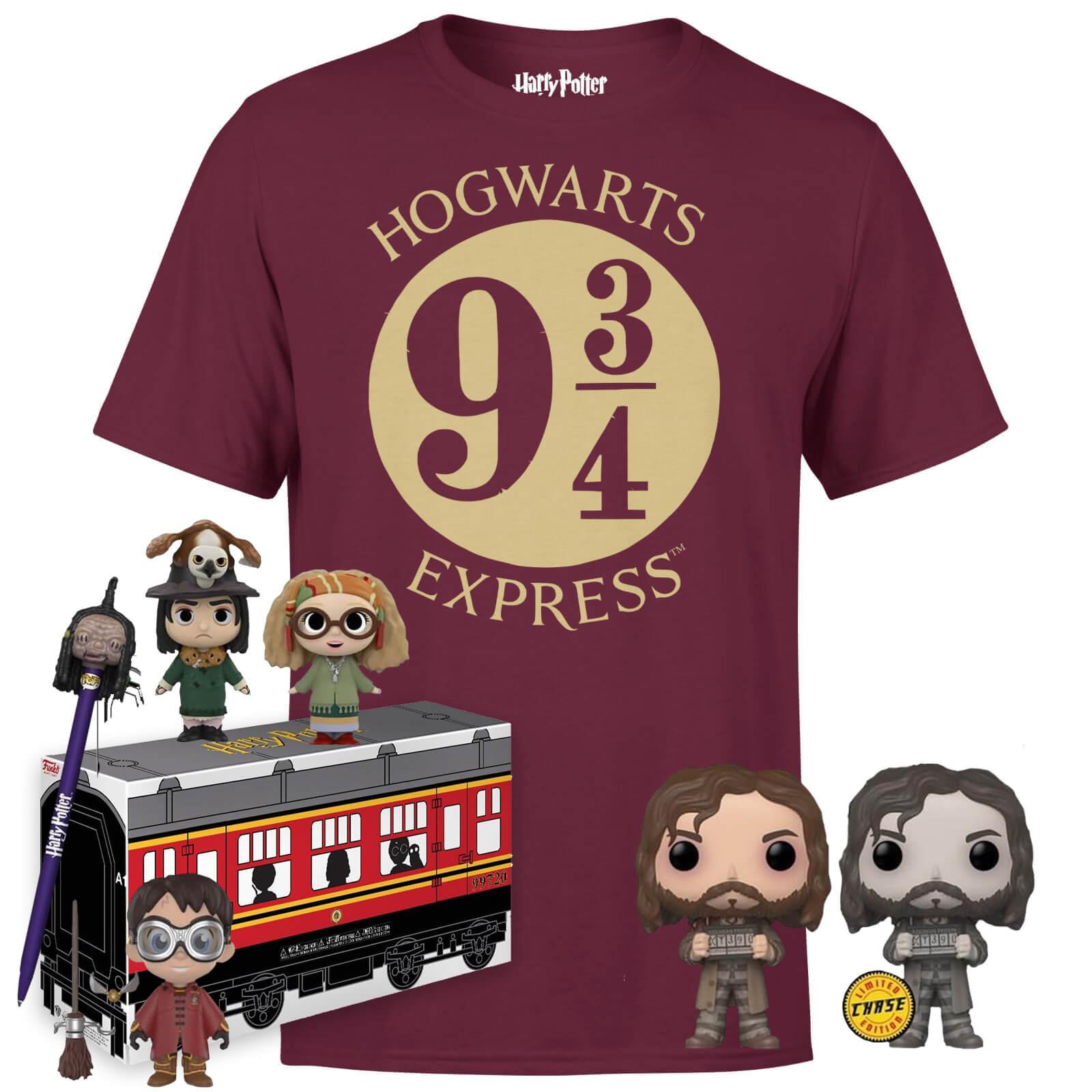 Lot Harry Potter : 1 T-shirt + 1 figurine HP Quidditch + 1 Funko Pop! Sirius Black + 1 Funko Mini + 1 boîte Poudlard Express + 1 crayon