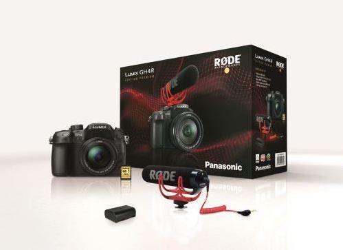 Pack Appareil photo hybride Panasonic GH4R, Objectif Lumix 12-60 mm F3.5-5.6, Micro Rode VideoMic Go, Batt. supp. DMW-BLF19, SD 32 Go