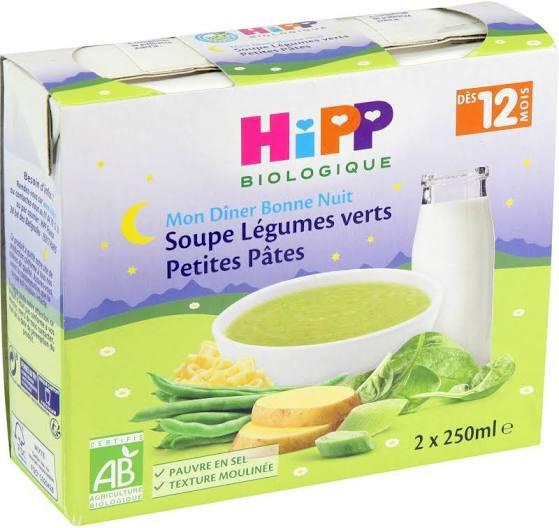 Soupe aux légumes verts et pâtes Hipp, 2 x 250Ml