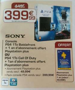 Console Sony PS4 1To Battlefront + 1 an PS Plus