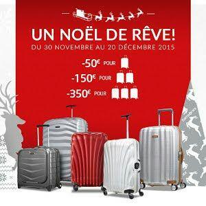 50€ de réduction pour l'achat d'une valise parmi une sélection, 150€ pour 2 valises et 350€ de réduction pour l'achat de 3 valises