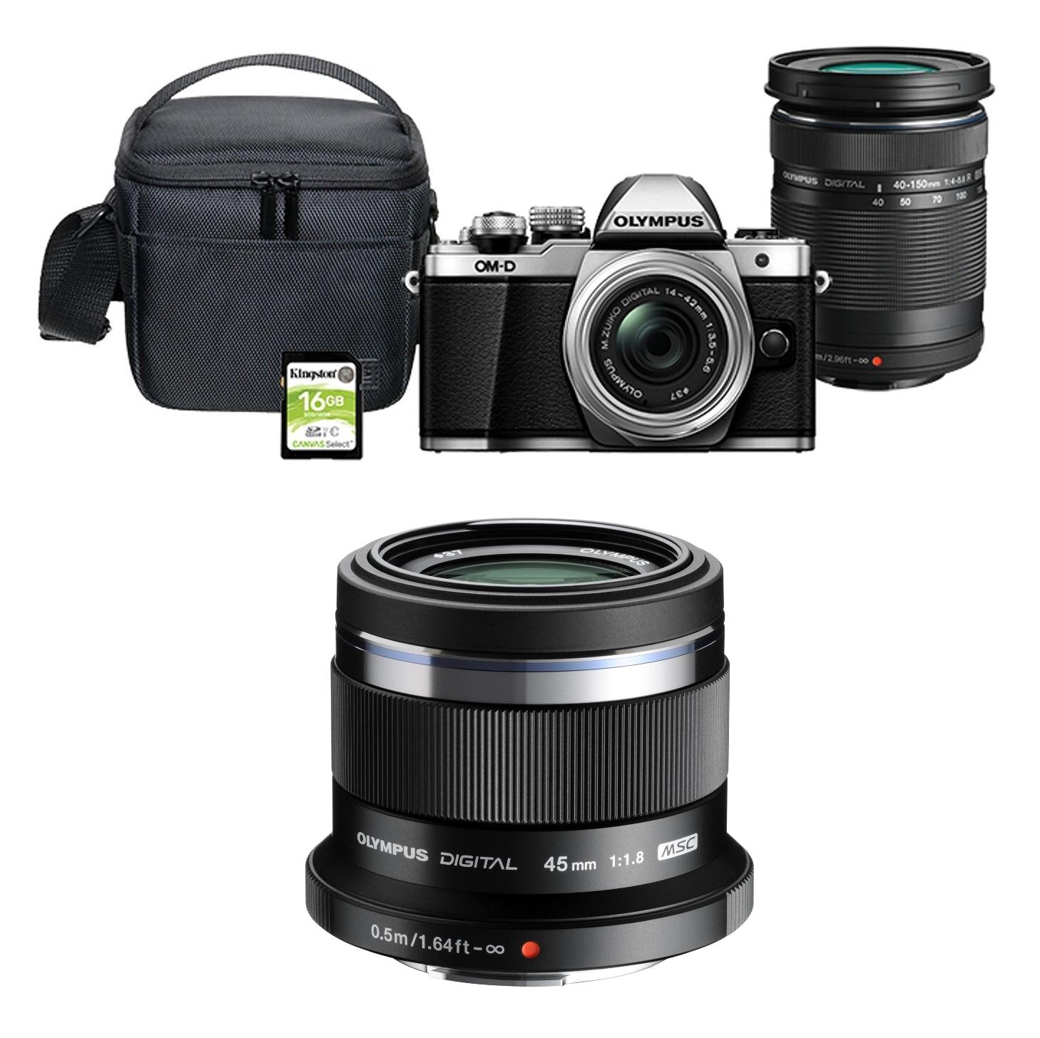 Appareil photo Hybride Olympus E-M10 Mark II Silver + 3 Objectifs M.Zuiko Digital (14-42mm + 40-150mm + 45mm f/1.8) + Sacoche + SD 16 Go