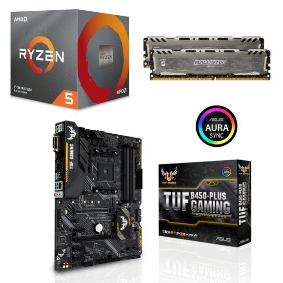 Kit d'évolution PC - processeur AMD Ryzen 5 3600 (3.6 GHz) + carte-mère MSI B450 Gaming Plus + kit de RAM Ballistix Sport LT (16 Go)