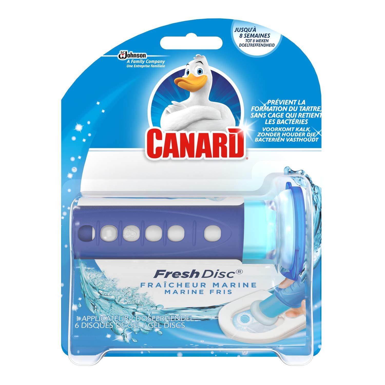 Lot de 2 blocs pour WC Canard Fresh Disc Active Eucalyptus, Citron Vert ou Fraîcheur Marine - 2 applicateurs + 12 disques