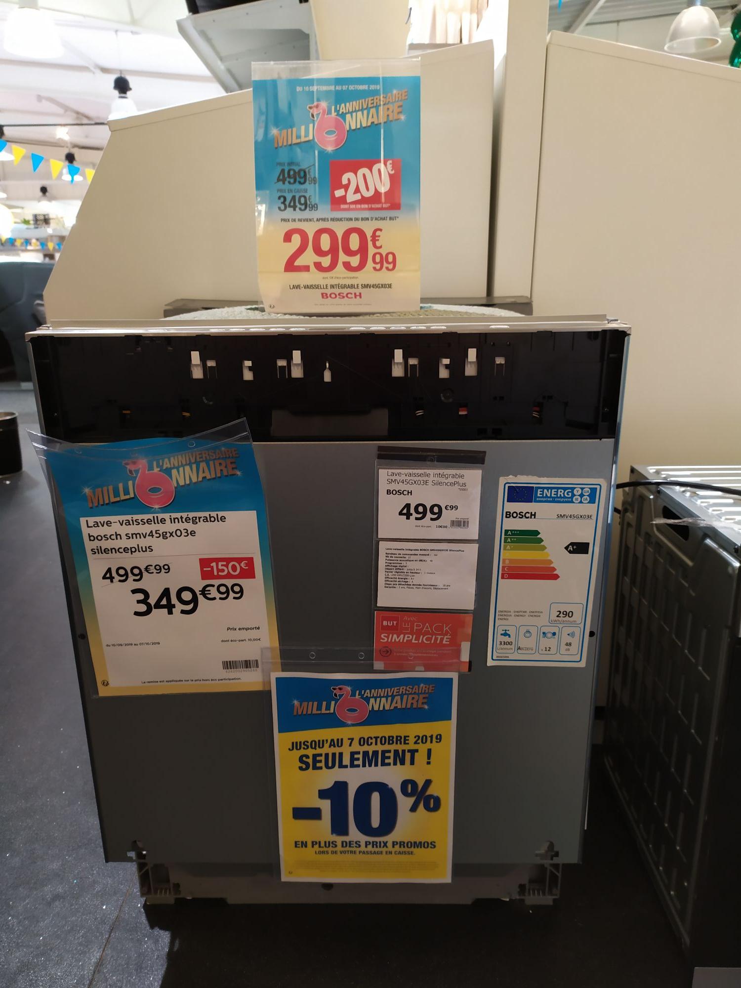Lave vaisselle intégrable Bosch SilencePlus SMV45GX03E - 12 couverts, A+ (+ 50€ en bon d'achat But) - Laval (53)