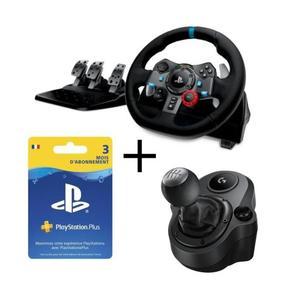 Pack Logitech : Volant G29 pour PC et PS4 avec Pédalier + Levier de vitesse Driving Force Shifter + Abonnement PlayStation Plus 3 Mois