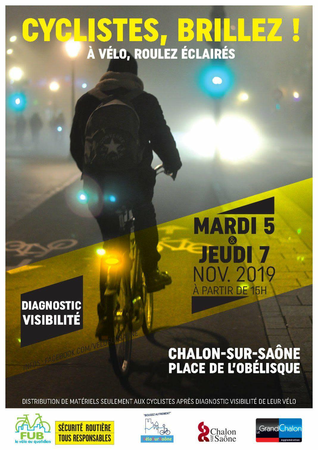 """Opération """"Cyclistes, brillez !"""": Distribution gratuite de kits de visibilité (gilets réfléchissants, de kits d'éclairage)"""