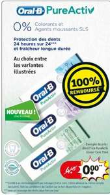 Dentifrice Oral B PureActiv 100% remboursé - 75 ml (Frontaliers Belgique)
