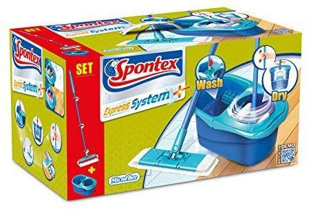 Kit Balai plat + Seau à essorage rotatif Spontex express system