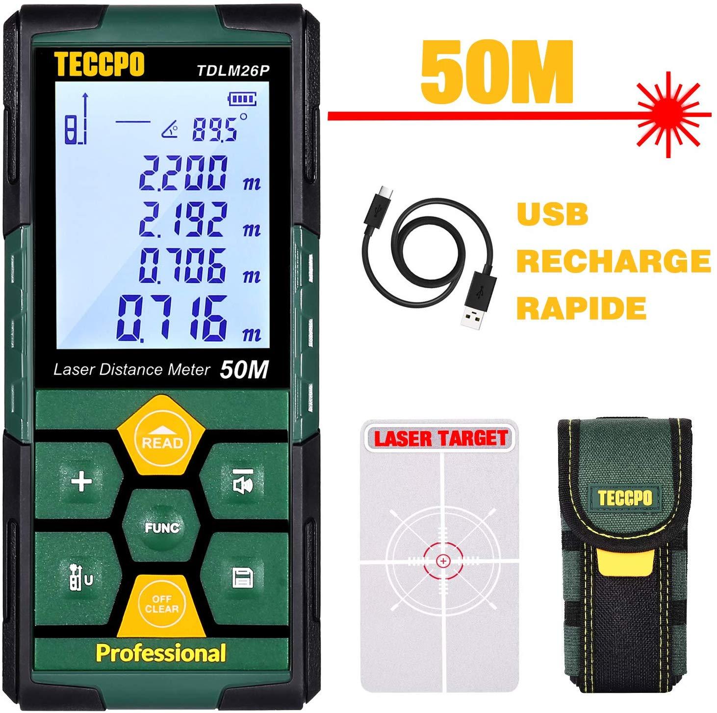 Télémètre laser Teccpo - 50m (vendeur tiers)
