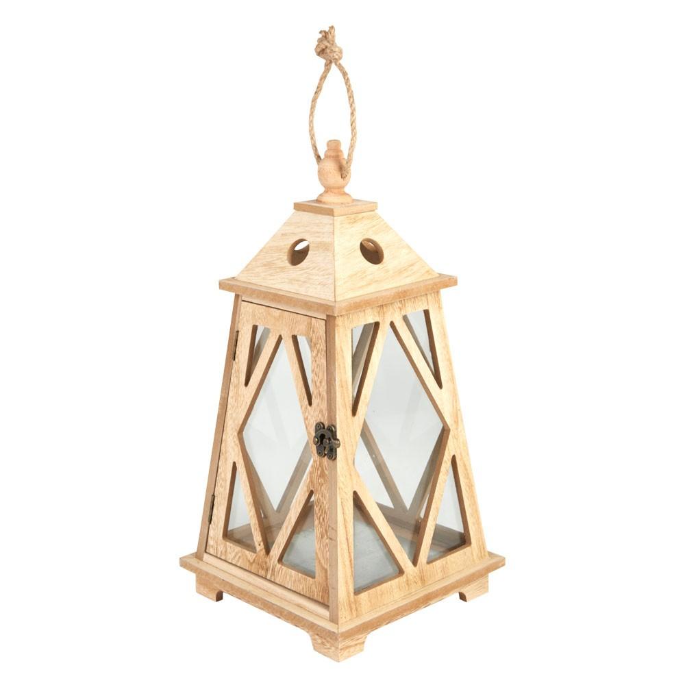 Lanterne bois vieilli - 20 x 20 x 40 cm